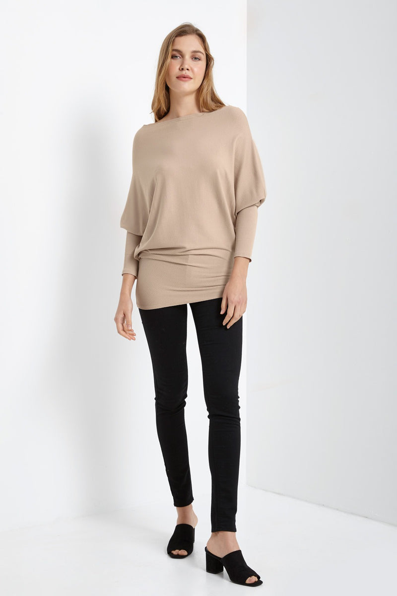 Batwing Sleeve Solid Color Top