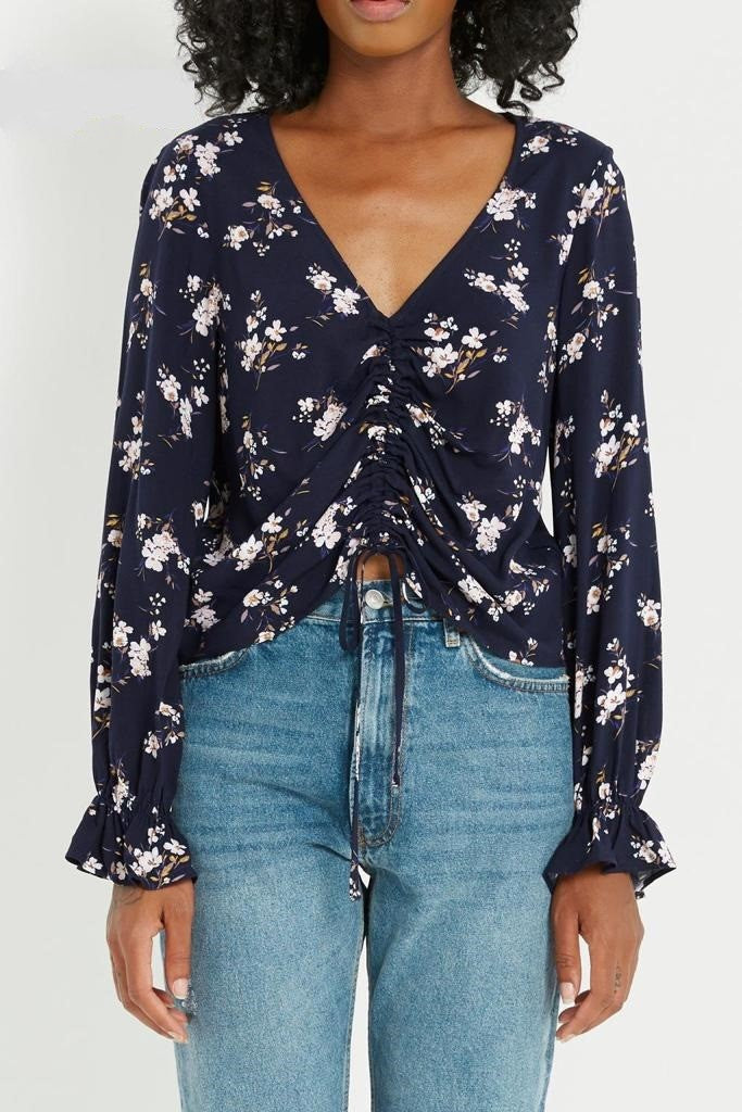 Long Sleeve V Neck Floral Top