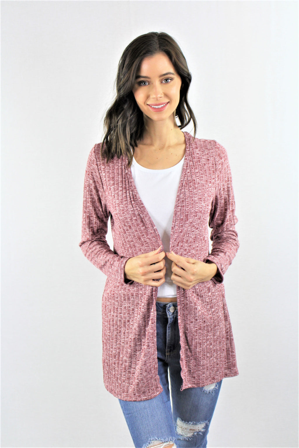 Women's Ribbed Open Front Cardigan