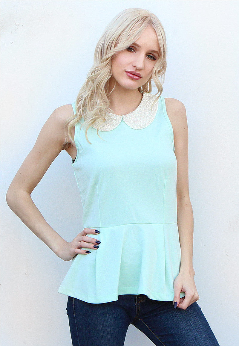 Mint Jeweled Peplum Tank