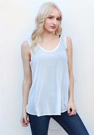 White Jeweled Tank