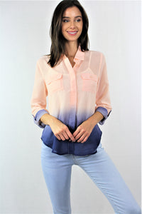 Long Sleeve Dual Tone Chiffon Top