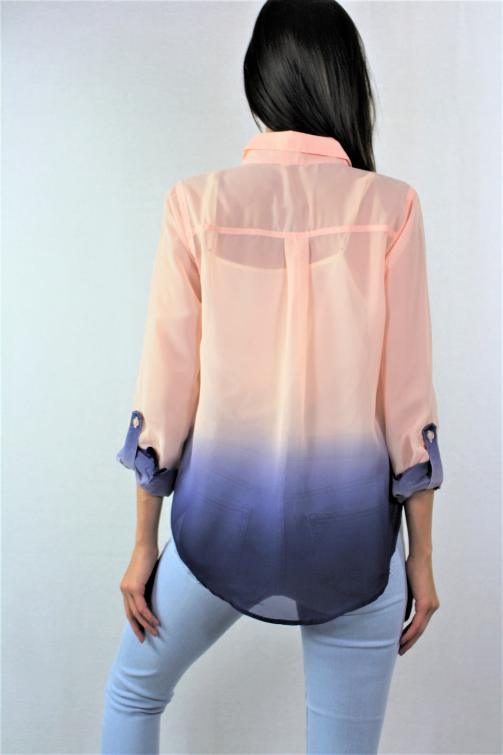 Women's Long Sleeve Dual Tone Chiffon Top