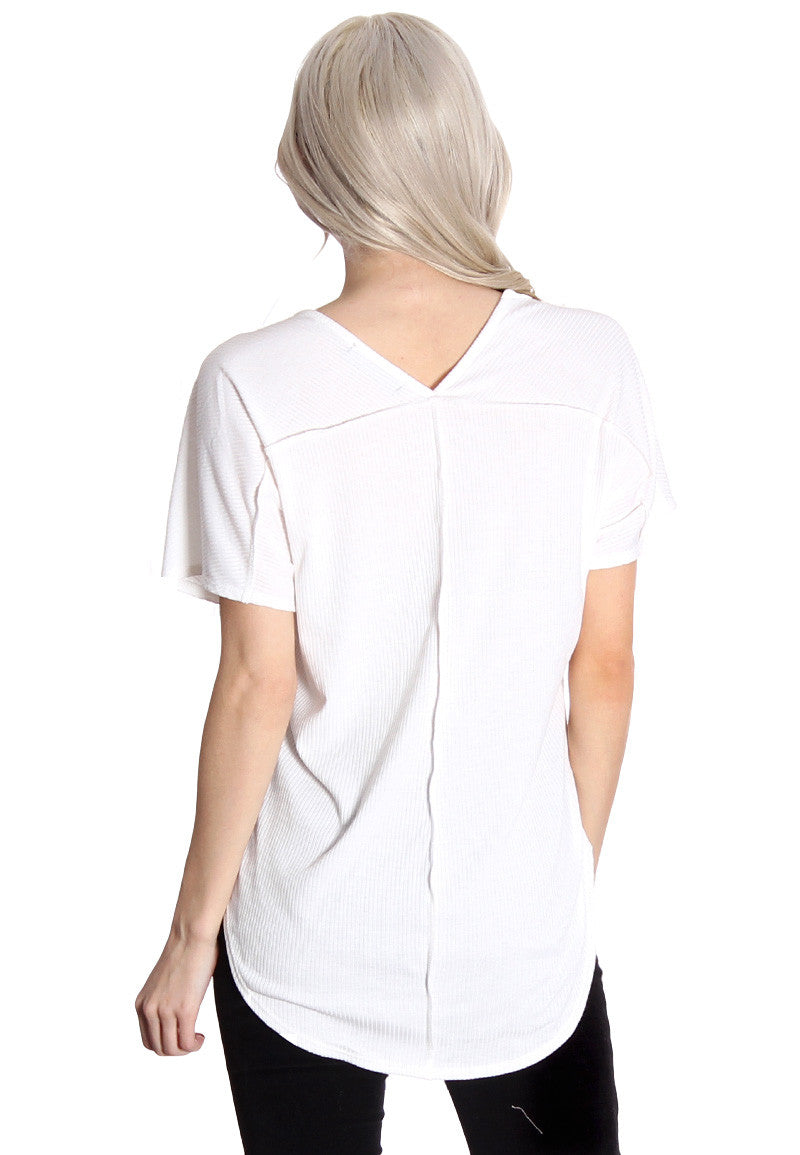 White Ribbed Tee