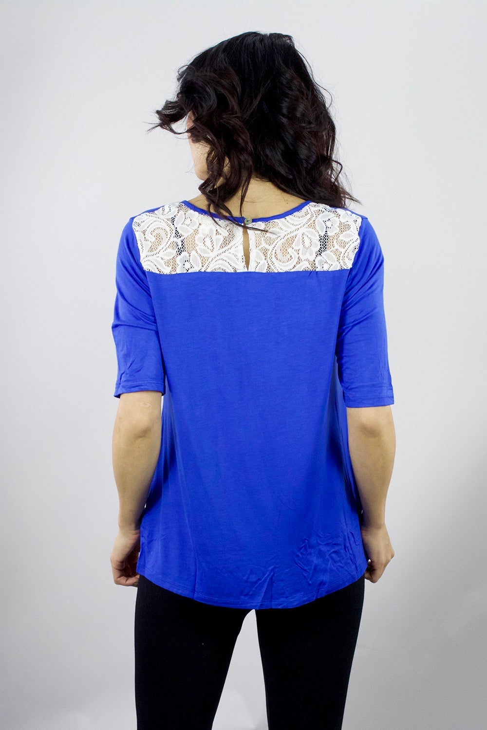 Women's Lace Back Low Cut Tunic Top