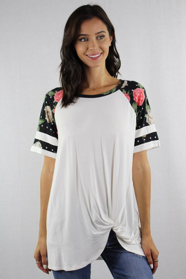 Floral Sleeve Baseball Tee with Front Knot*