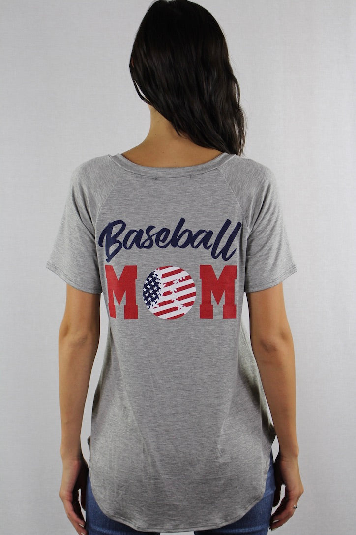 V Neck Baseball Mom Top with Front Pocket