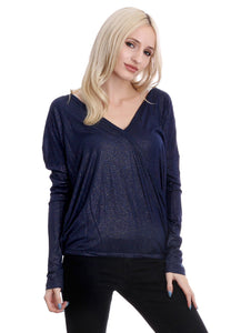 Navy Glittered Surplice Design Blouse