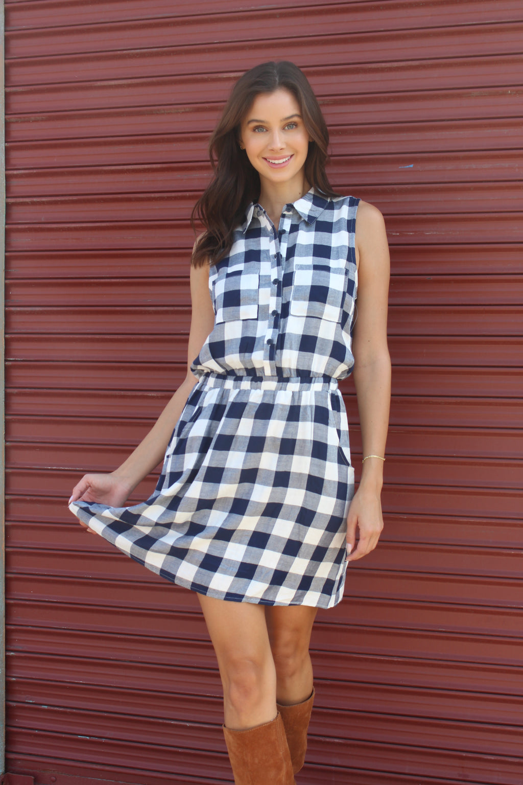 Women's Plaid Cinched Waist Sleeveless Dress