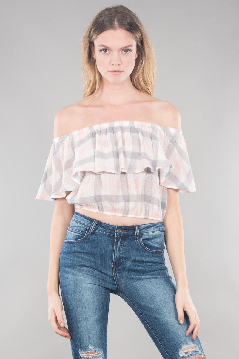 Blush Off Shoulder Cropped Top
