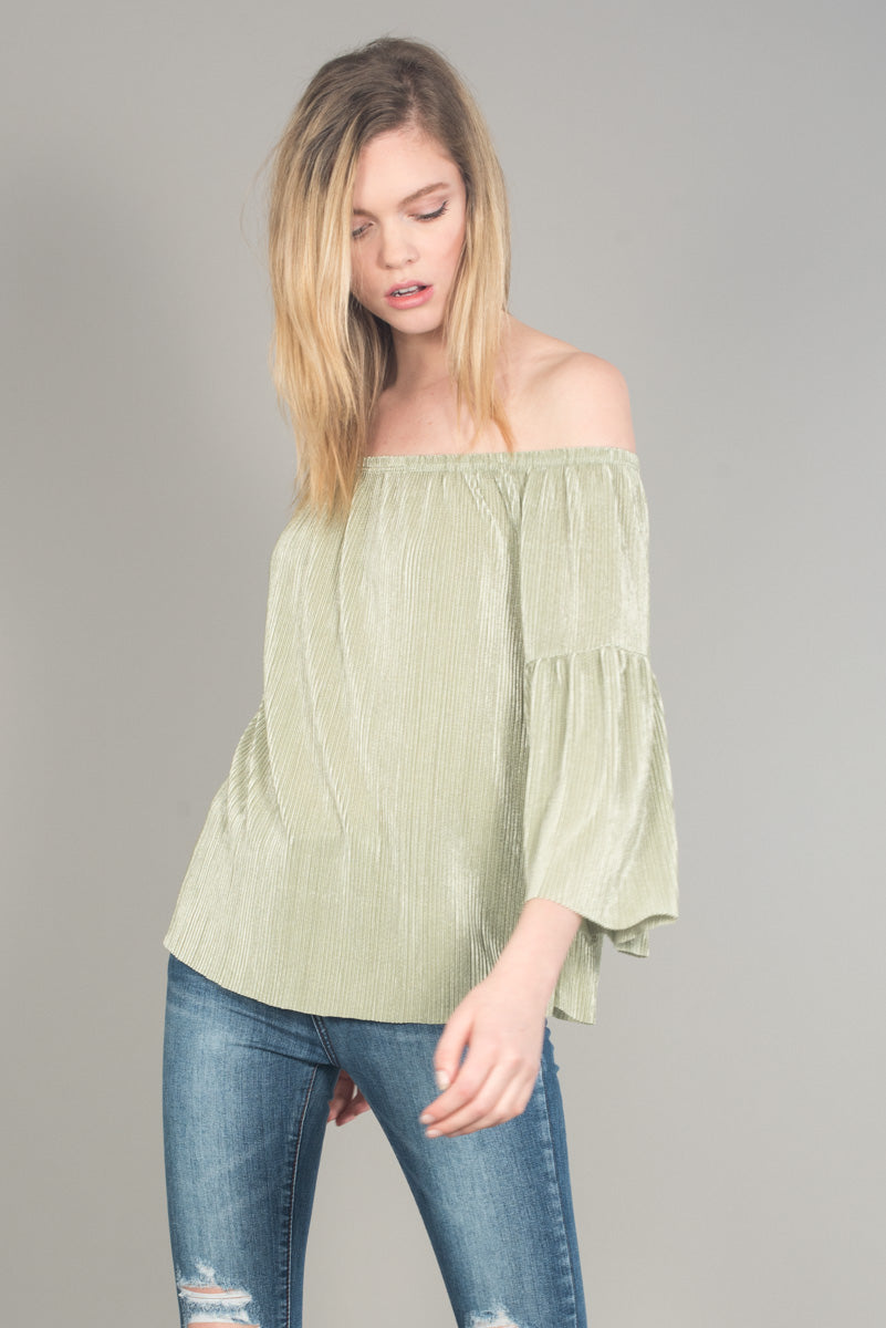 Off Shoulder Bell Sleeve Ruffled Top