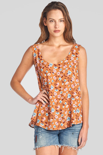 camel floral tie back open top