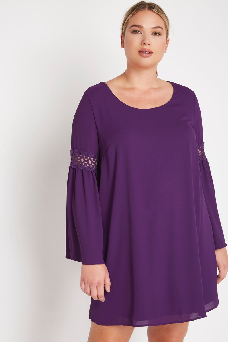 Plus Size Mini Chiffon Dress with Crochet Detail