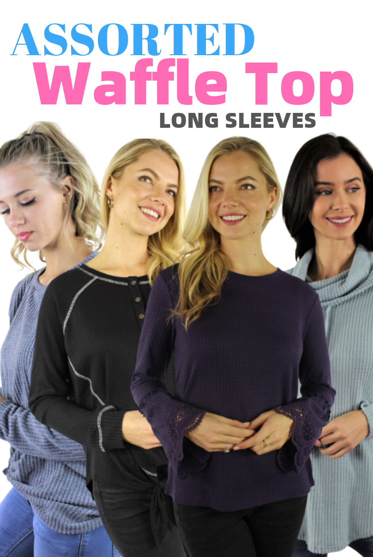 ASSORTED Women's Long Sleeve Waffle Top