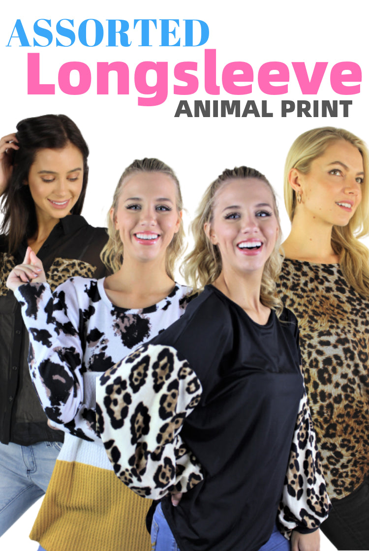 ASSORTED Women's Long Sleeve Animal Print Top