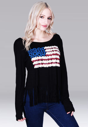 Black scoop neck printed USA flower flag  with a fringe bottom. With long black knit sleeves- Casual knit top