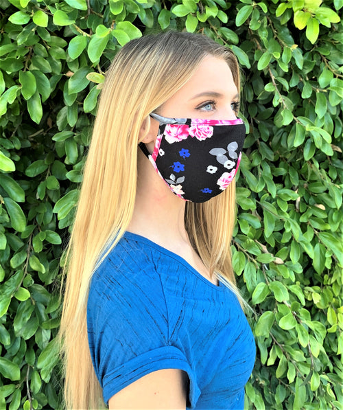 Black Floral Print Comfortable Double Layer Face Mask (5)