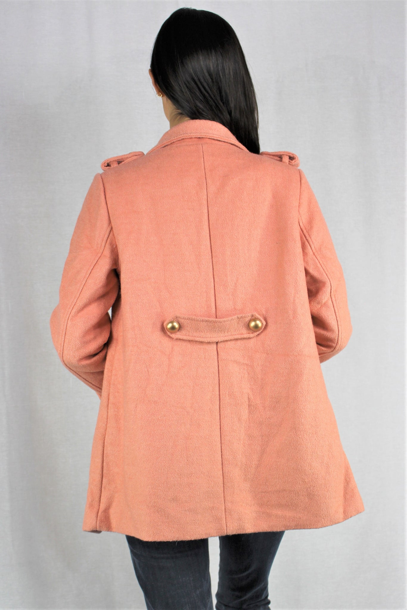Women's Stylish Button Up Tweed Coat with Pockets