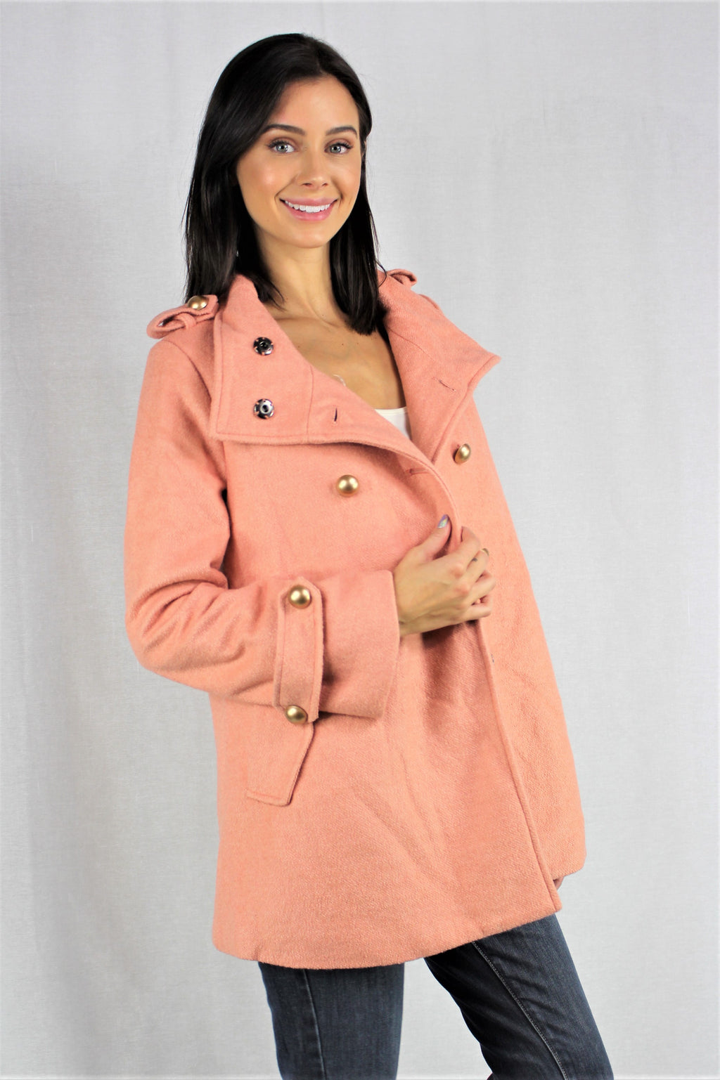 Women's Stylish Button Up Tweed Coat with Pockets *