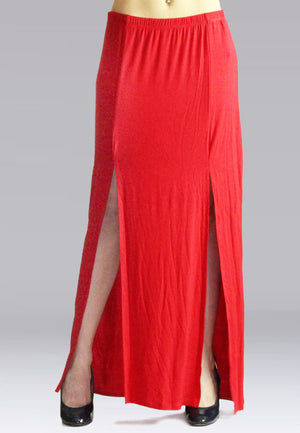 Red Maxi Skirt With Slit