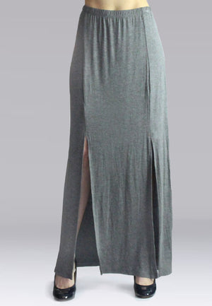 Gray Maxi Skirt With Slit