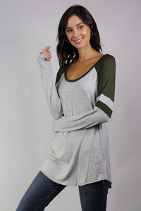 Long Sleeve Dual Color Top