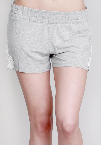 Gray Shorts with Crochet Side Design