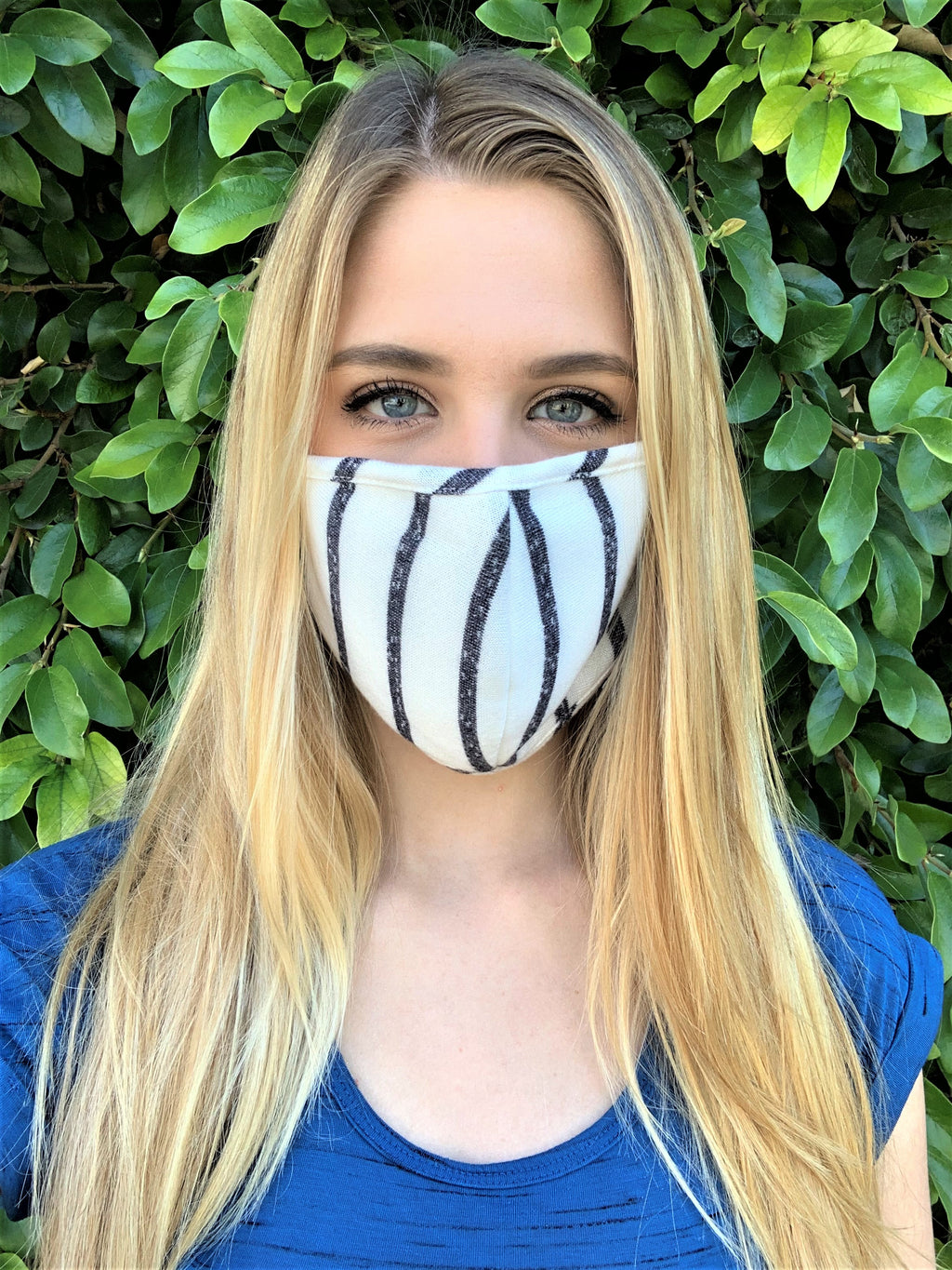 Gray/White Stripes Comfortable Double Layer Face Mask