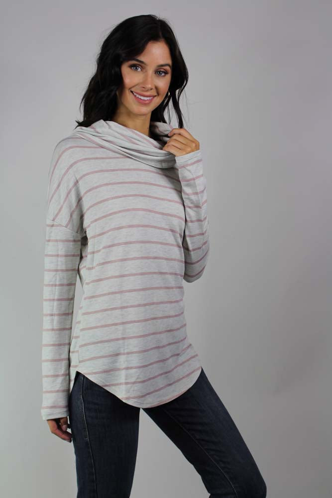 long sleeve striped cowl neck top