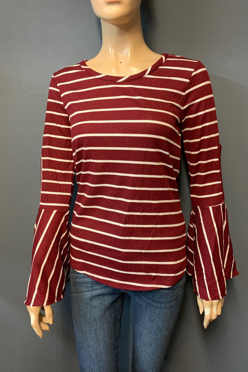 Women's Stripe Bell Sleeve Top