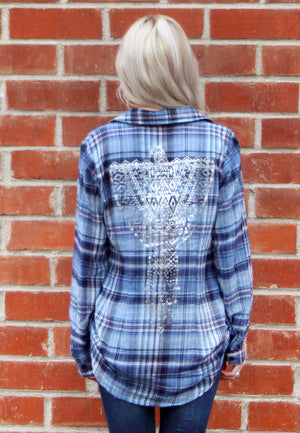 Printed Button Down Plaid
