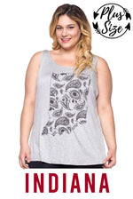 "Women's Plus Indiana ""home."" Screen Print Tank Top"