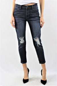 Plus Size Dark Wash Knee Ripped Jeans