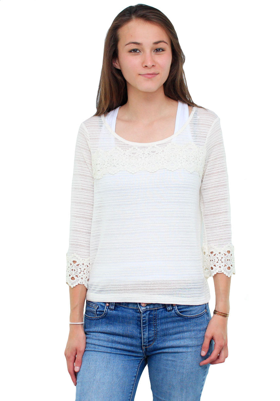 Taupe Light Weight Lined Crochet Hemmed Blouse