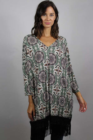 printed fringe trim tunic