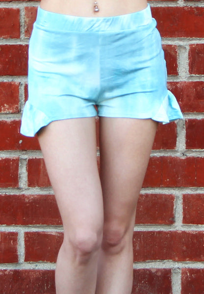 Blue Tie Dye Shorts with Side Flutter Hem