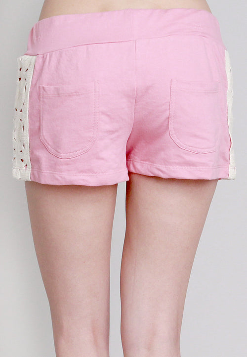 Women's Pink Shorts with Crochet Side Design & Back Pockets