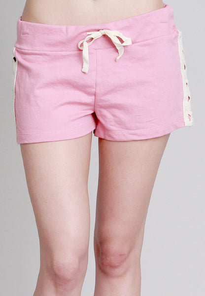 Pink Shorts with Crochet Side Design & Back Pockets