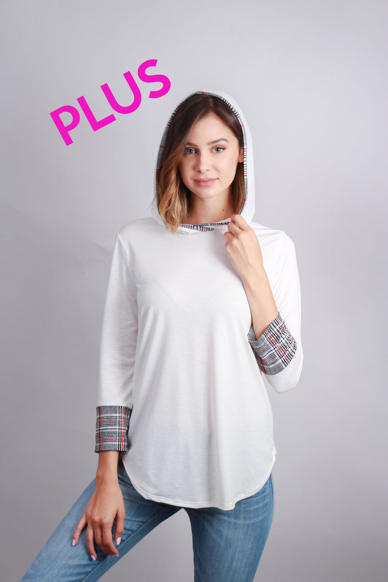 plus size hooded ivory top with gingam plaid