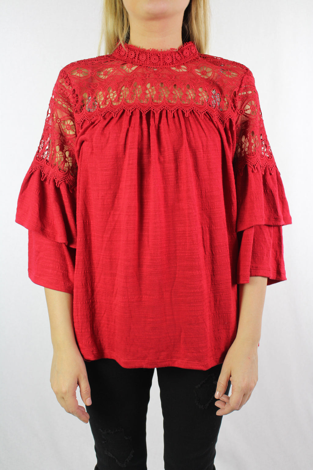 Women's 3/4th Layered Sleeve Crochet Top