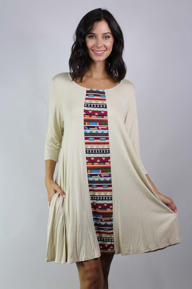 Women's 3/4th Sleeve Aztec Print Wide Hem Dress