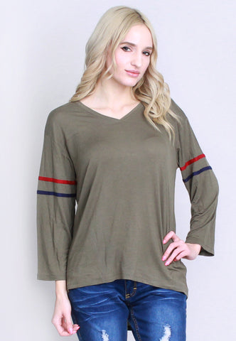 Olive American Football Top with Stripes