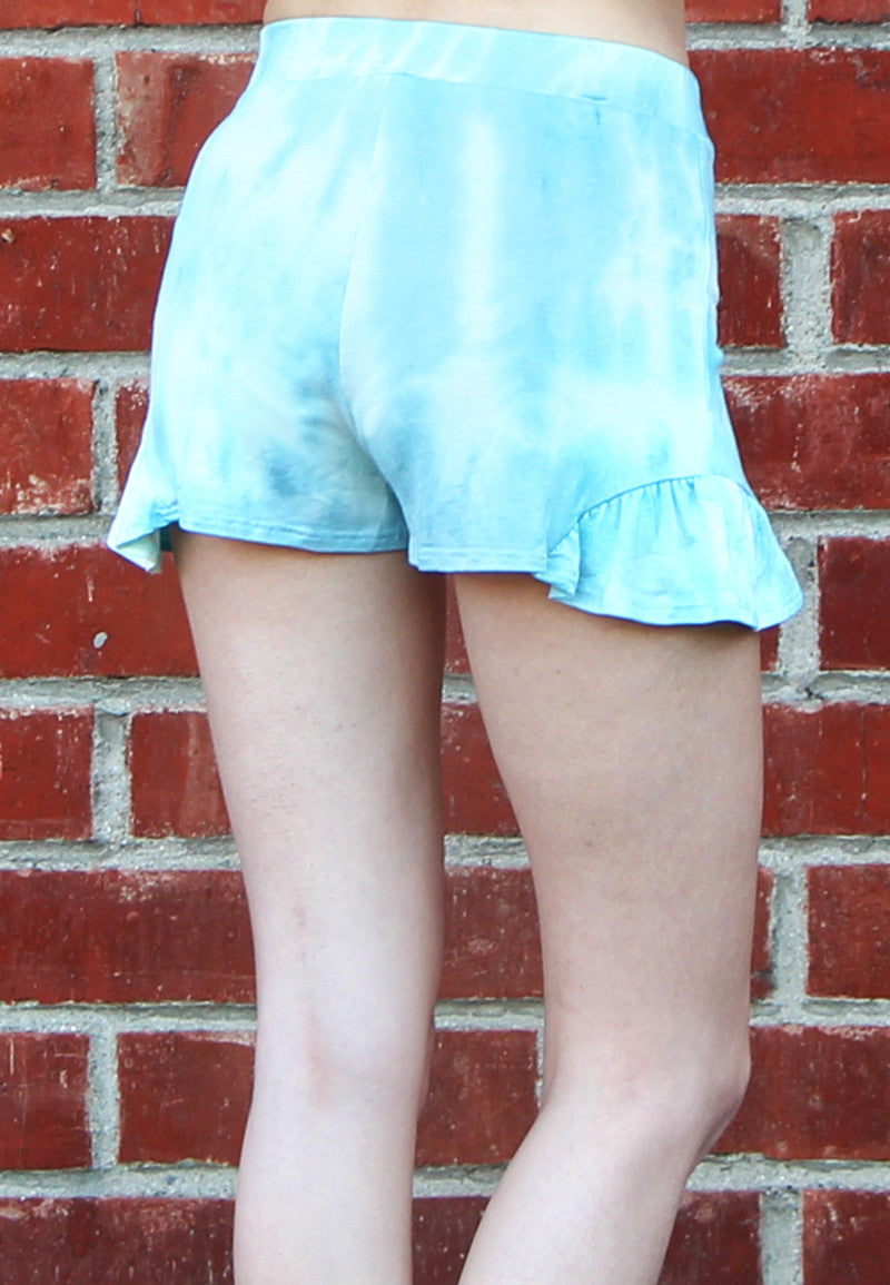 Women's Blue Tie Dye Shorts with Side Flutter Hem