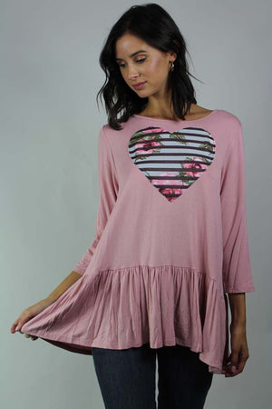 long sleeve ruffle detailed heart top