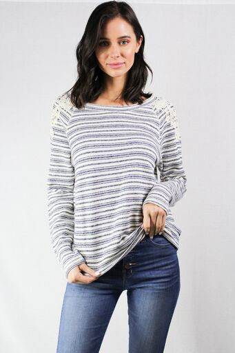 striped long sleeve sweater with lace detail
