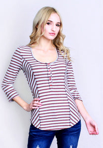 Round neck Multi color ribbed Henley with a lace up back 3/4 sleeves Lace-Up Back Ribbed Striped Henley Top