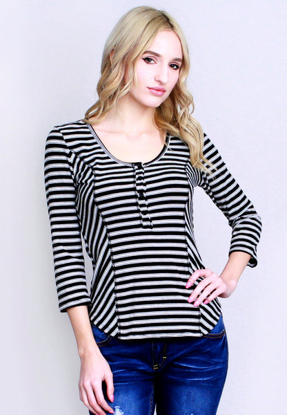 Lace-Up Back Ribbed Striped Henley Top