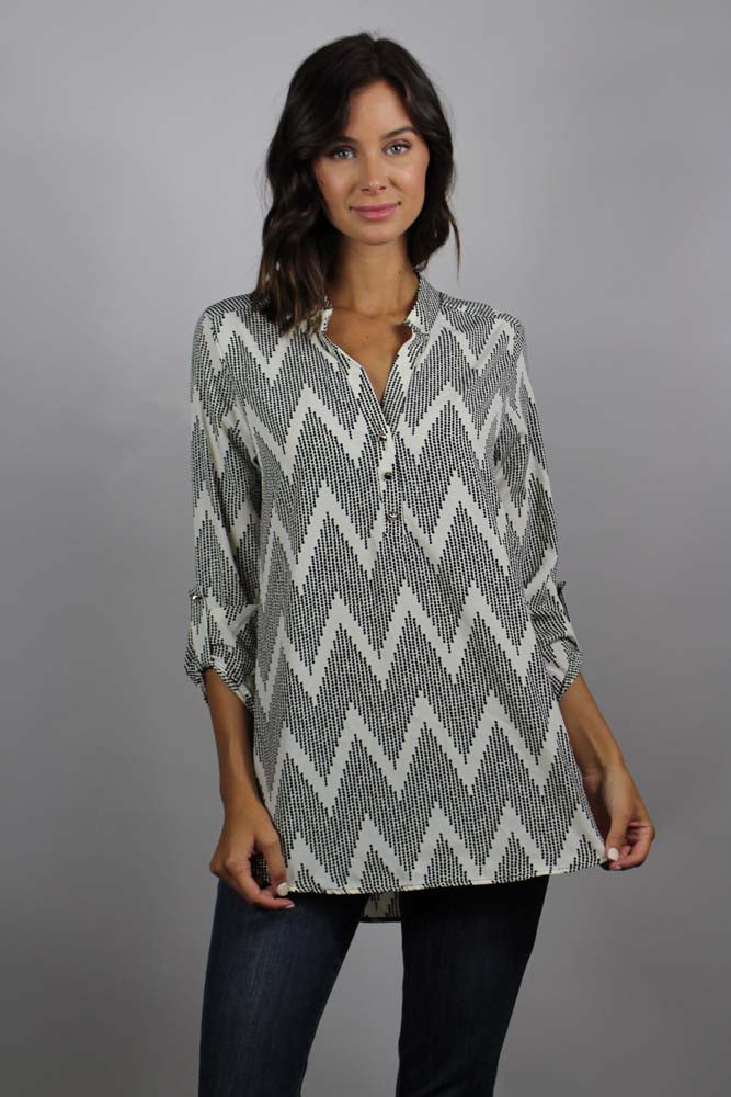 Women's 3/4 Sleeves Chevon Tunic Top