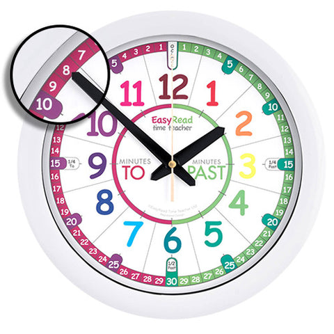 EasyRead Classroom Teacher Clock 12 /& 24 Hours 29cm Teaching Resource 2-Step Sys