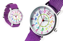 Children's watch, rainbow colours, learn to tell time in 'world time'
